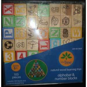 Wood Alphabet & Number Blocks 102 Pieces & Storage Bag Toys & Games
