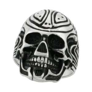 Surgical Steel Gothic Bot Skull Ring Blackened finish 1 1/8 in. (29mm