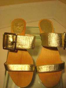 Spade Gold Leather Resort Sandals with Wooden Sole Detail/ 6M