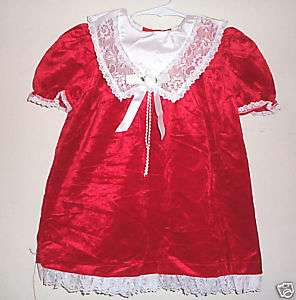 girls red CHRISTMAS dress white lace FANCY COLLAR 4t @@