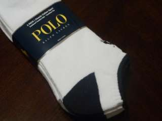 Polo Ralph Lauren Mens 3 Pair Ankle Socks White 10 13