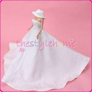 Princess Wedding Party Holiday Clothes Gown Dress w/ Hat for Barbie