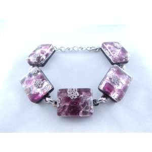 Purple Silver Flower Murano Glass Venetian Bracelet Jewelry Jewelry