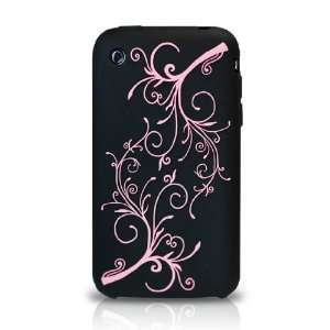 3GS BLACK DIPSY EMBOSSED SILICON CASE PROTECTOR COVER Cell Phones