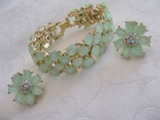 Kramer pale green glass and aurora borealis rhinestone bracelet & clip