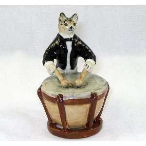 CAT Tiger Grey n TUX Musician plays KETTLE DRUM MINIATURE