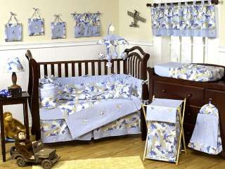 BLUE AND BROWN CAMOUFLAGE BABY BOY CRIB BEDDING SET FOR NEWBORN BY