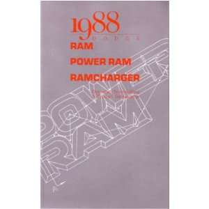 1988 DODGE RAMCHARGER Owners Manual User Guide Automotive