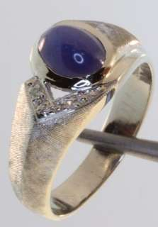 14k white gold .03ct gents blue star sapphire diamond ring mens 6.4g
