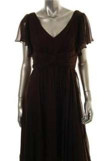 Suzi Chin NEW Brown Versatile Dress Silk Embellished 8