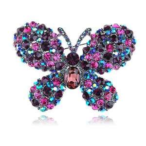 Adorable Colorful Crystal Rhinestone Butterfly Insect Bug Pin Brooch