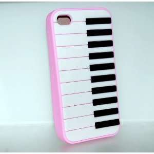 Pink Piano Keyboard Design Soft Silicone Skin Gel Cover