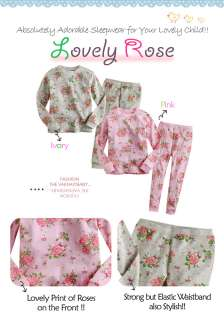 NWT Baby Toddler Kids Girl Cute Sleepwear Pajama Set  Lovely Rose