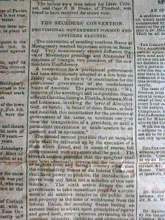 1861 Civil War newspaper CONFEDERATE STATES Government FORMED
