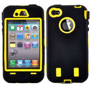 Yellow Heavy Duty Case Tough Cover for Apple iPhone 4G