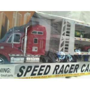 Powered Semi Truck and Car Carrier with Ten Race Cars Toys & Games