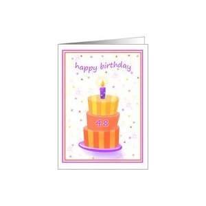 48 Years Old Happy Birthday Stacked Cake Lit Candle Card