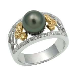 Sterling Silver Diamond Lined Crown Ring with 8 9mm Black Akoya Pearl