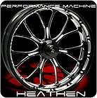BLACK PERFORMANCE MACHINE HEATHEN FRONT REAR WHEELS & TIRES HARLEY FLH