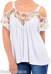 New Womens White COLD SHOULDER Floral LACE Flowy RUFFLE Top Choose