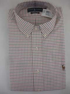 Polo Ralph Lauren Mens DRESS SHIRT Classic Fit Plaid Cream Red Navy