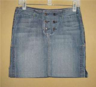 SEVEN FOR ALL MANKIND Jeans Vtg Wash 6 Button DENIM MINI Jean SKIRT