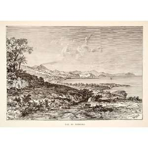 1890 Wood Engraving Pozzuoli Bay Naples Campania Italy