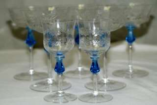 Art Deco Crystal Glasses with Blue stem & etching