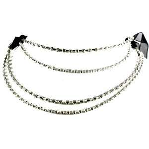 Designer Alex Carol Black Ribbon Multi Layered Ice Crystal