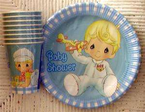 NIP BABY SHOWER BOY PRECIOUS MOMENTS PARTY plates cups