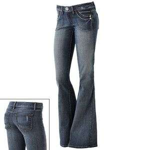 NEW FRAGILE FLARE WOMENS JUNIORS MEDIUM WASH JEANS NATURES DENIM