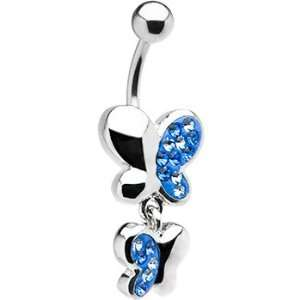 Double Blue Paved Gem Butterfly Belly Ring Jewelry