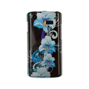 Design Plastic Phone Protector Cover Case Blue Flower For
