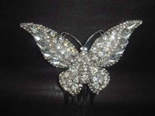 Bridal Rhinestone large crystal Butterfly Hair tiara Comb RB416