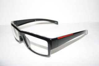 Nerd Clear Glasses new Style Wayfarer flat black Red Stripe frame