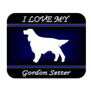 I Love My Gordon Setter Dog Mouse Pad   Blue Design