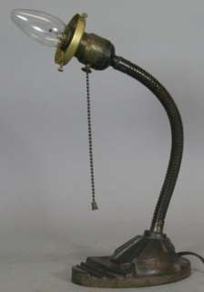 Antique Art Deco Gooseneck Cast Iron Adjustable Lamp for Art Glass