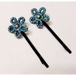 Blue Crystals  Daisy Flower   Ornamental Hairpins