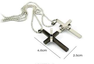 Mens Stainless Steel Cross Ring Pendant Necklace chain