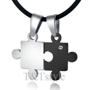 316L Stainless Steel Puzzle Pendant Necklace For Couple Two Chain