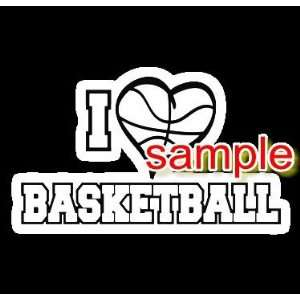 I LOVE BASKETBALL WHITE VINYL DECAL STICKER Everything