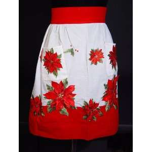 CHRISTMAS Retro Poinsettia Kitchen APRON Beautiful NEW