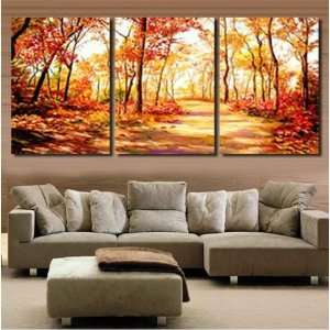 Modern Abstract Art Oil PaintingGolden Forest STRETCHED