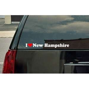 I Love New Hampshire Vinyl Decal   White with a red heart