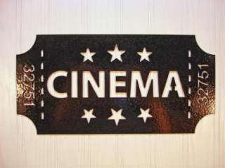 Metal Wall Art Home Theater Decor Cinema Ticket