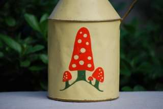 Antique PRIMITIVE TOLEWARE Creamer Pitcher Hand Painted Mushrooms CUTE