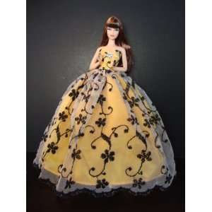Golden Yellow Ball Gown with See Thru Lace with a Black