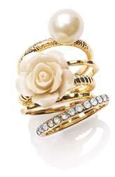 Ariella Collection Flower & Faux Pearl Stack Rings (Set of 5