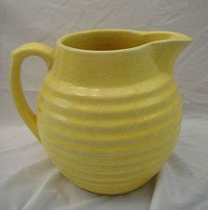 Yellow Pottery Ring Pitcher 48 oz 6 1/2T Depression Era Bauer?