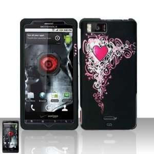 Black with Pink Vine Gothic Heart Rubber Texture Motorola